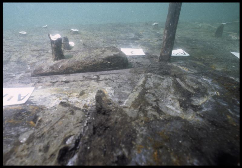 Vue sous-marine de détail d'un coin in situ (fouille M. L'Hour/Drassm, E. Veyrat/Drassm).