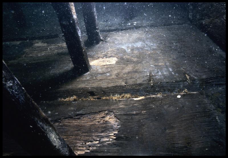 Vue sous-marine de détail des gournables des membrures in situ (fouille M. L'Hour/Drassm, E. Veyrat/Drassm).