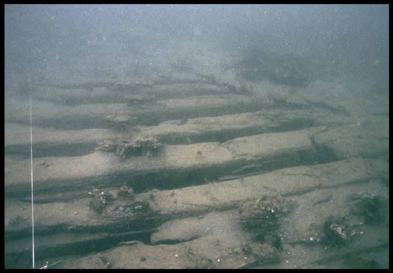 Vue sous-marine des membrures in situ (fouille M. L'Hour/Drassm, E. Veyrat/Drassm).