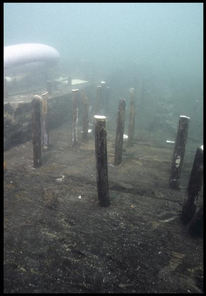 Vue sous-marine de détail des gournables des membrures de la carène (fouille M. L'Hour/Drassm, E. Veyrat/Drassm).