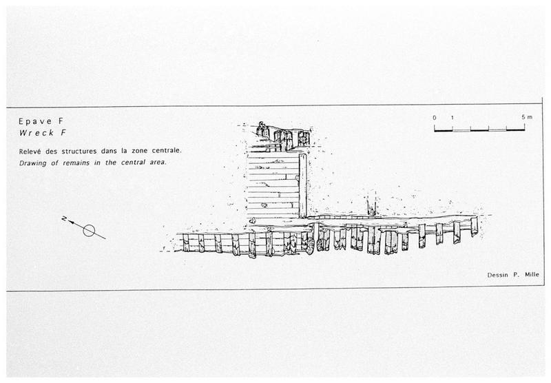 Vue du plan de relevé de la carène (fouille M. L'Hour/Drassm, E. Veyrat/Drassm).