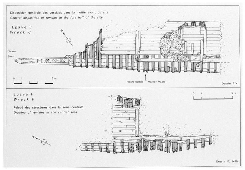 Vue des plans de relevé de carène des épaves F et C (fouille M. L'Hour/Drassm, E. Veyrat/Drassm).