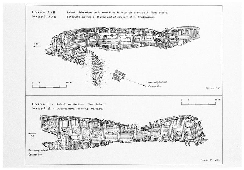 Vue des plans de relevé de carène des épaves A/B et E (fouille M. L'Hour/Drassm, E. Veyrat/Drassm).