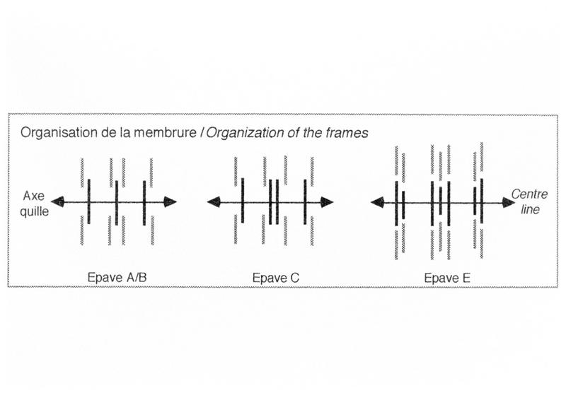 Vue de l'organisation des membrures des épaves A/B, C et E (fouille M. L'Hour/Drassm, E. Veyrat/Drassm).