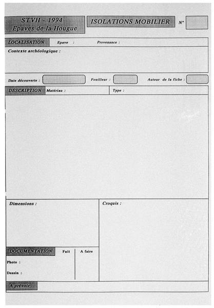 Vue de la fiche de renseignement matériel type (fouille M. L'Hour/Drassm, E. Veyrat/Drassm).