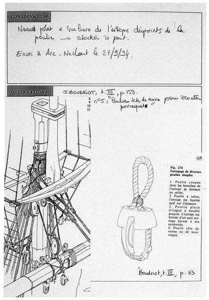 Vue de la fiche de renseignement manuscrite de l'élément 408 (fouille M. L'Hour/Drassm, E. Veyrat/Drassm).