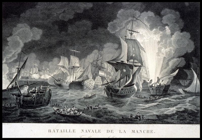 Vue d'une gravure de la bataille de la Hougue (fouille M. L'Hour/Drassm, E. Veyrat/Drassm).
