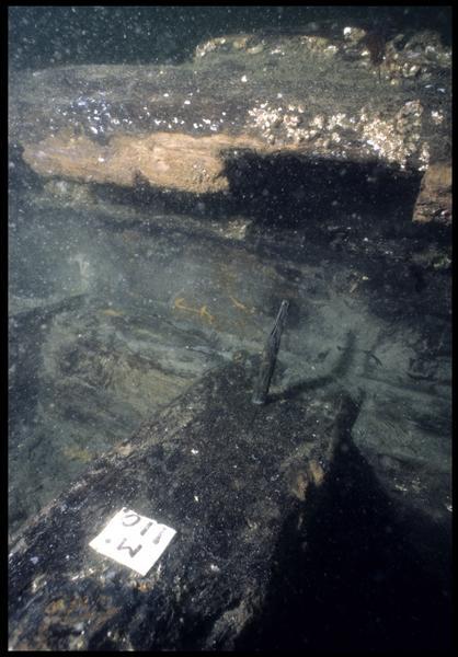 Vue sous-marine de détail de la membrure 110 (fouille M. L'Hour/Drassm, E. Veyrat/Drassm).