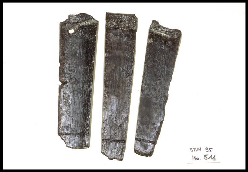 Vue de trois douves de tonneau de bois (fouille M. L'Hour/Drassm, E. Veyrat/Drassm).