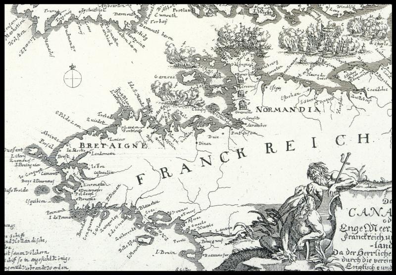 Vue de la carte ancienne allemande de la pointe bretonne de J-G Balthern (fouille M. L'Hour/Drassm, E. Veyrat/Drassm).