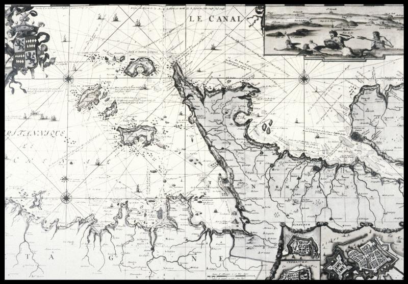 Vue de la carte ancienne extraite de l'Atlas de Marine de R. de Hooghe (1633) (fouille M. L'Hour/Drassm, E. Veyrat/Drassm).