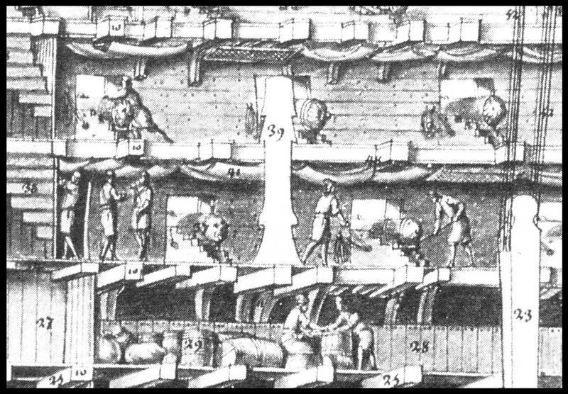 Vue de détail d'un dessin d'un profil de navire extrait de l'Album Colbert (fouille M. L'Hour/Drassm, E. Veyrat/Drassm).