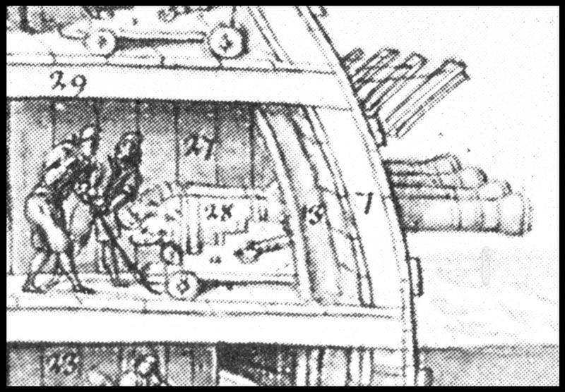 Vue de détail du dessin d'un profil de navire extrait de l'Album Colbert (les artificiers) (fouille M. L'Hour/Drassm, E. Veyrat/Drassm).