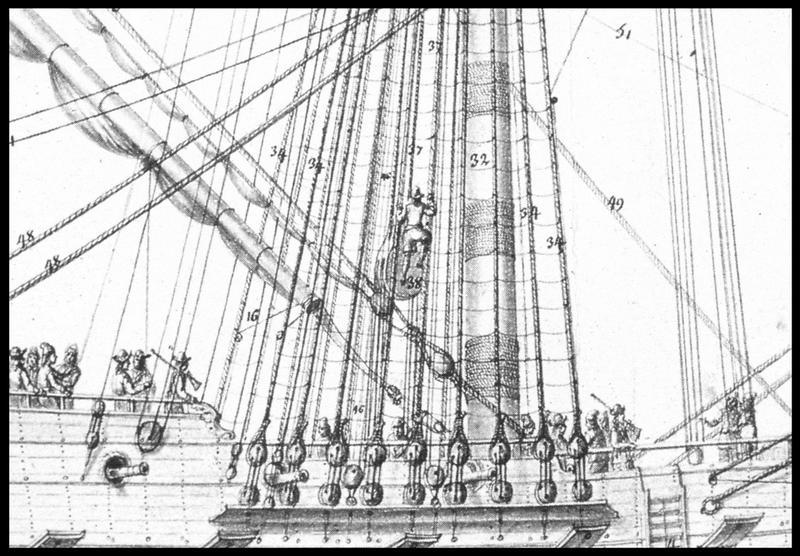 Vue du dessin des cordage de voilure d'un navire extrait de l'Album Colbert (fouille M. L'Hour/Drassm, E. Veyrat/Drassm).