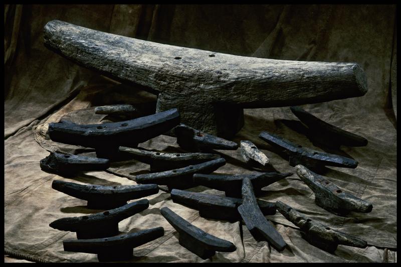 Vue d'un lot de taquets à corne de diverses tailles en bois (fouille M. L'Hour/Drassm, E. Veyrat/Drassm).