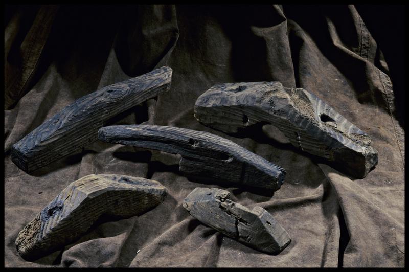 Vue de cinq taquets de bois (fouille M. L'Hour/Drassm, E. Veyrat/Drassm).