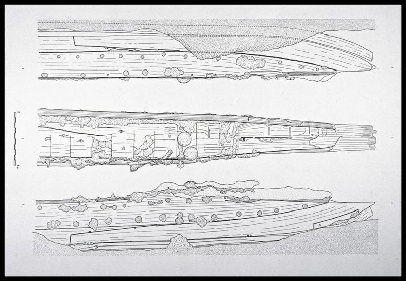 Vue du dessin du système axiale de la carène (fouille M. L'Hour/Drassm, E. Veyrat/Drassm).