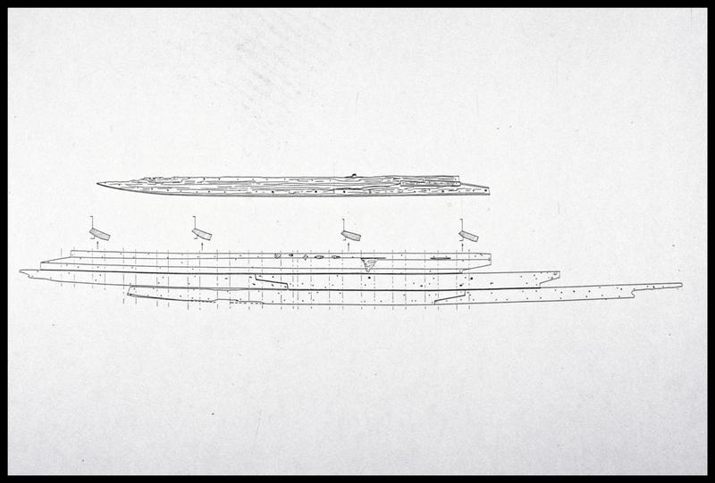Vue du dessin de la liaison des vaigres de la carène (fouille M. L'Hour/Drassm, E. Veyrat/Drassm).