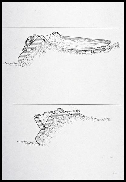 Vue du dessin de l'hypothèse de destruction de la carène (fouille M. L'Hour/Drassm, E. Veyrat/Drassm).