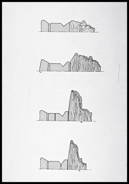 Vue du dessin de quatre membrures (fouille M. L'Hour/Drassm, E. Veyrat/Drassm).