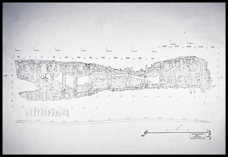 Vue du plan général de la carène (fouille M. L'Hour/Drassm, E. Veyrat/Drassm).