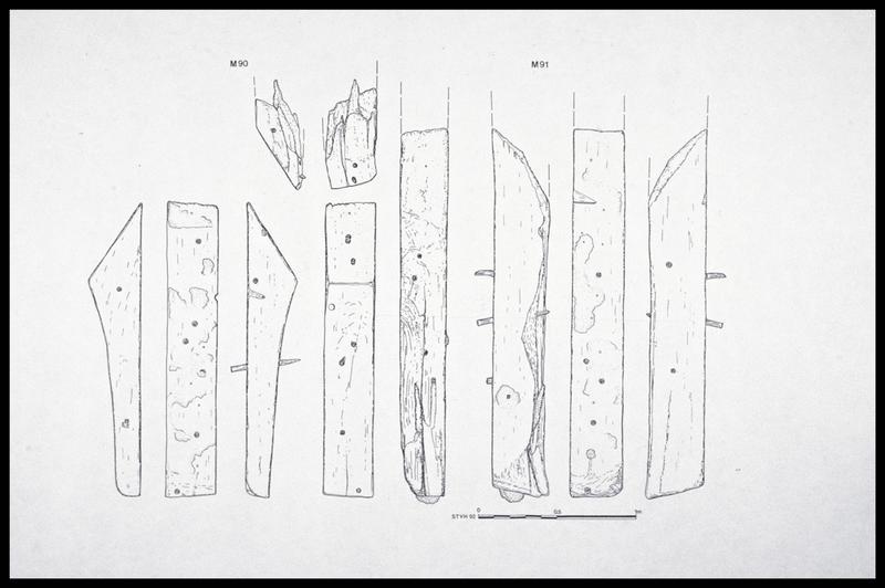 Vue du dessin des membrures 90 et 91 (fouille M. L'Hour/Drassm, E. Veyrat/Drassm).