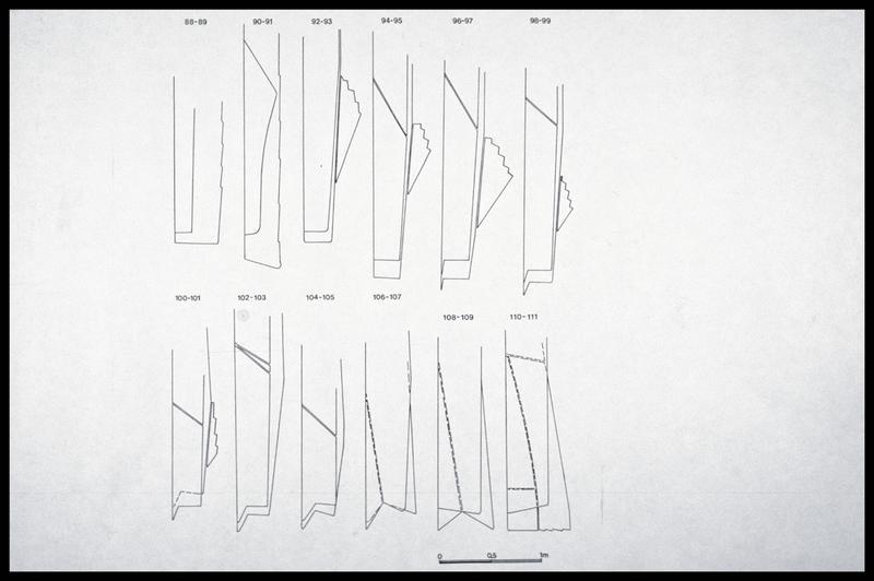 Vue du dessin des vaigres sous les membrures 88 à 111 (fouille M. L'Hour/Drassm, E. Veyrat/Drassm).