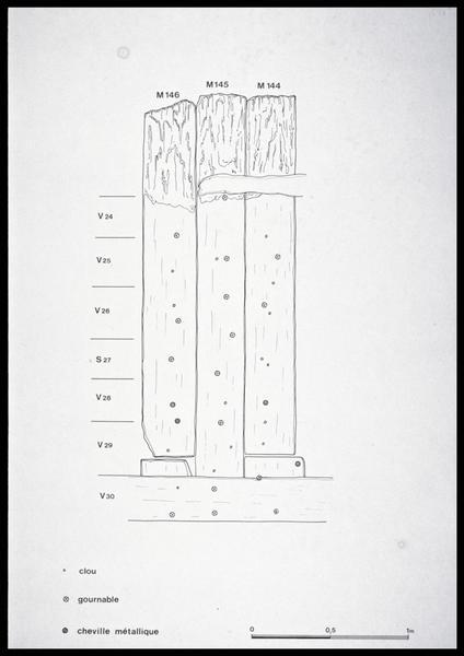 Vue du dessin de relevé des membrures 144 à 146 (fouille M. L'Hour/Drassm, E. Veyrat/Drassm).