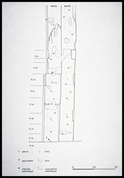 Vue du dessin de relevé des membrures 104 et 105 (fouille M. L'Hour/Drassm, E. Veyrat/Drassm).
