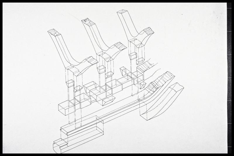 Vue du plan d'assemblage des fourcats à la structure axiale à l'avant de la carène (fouille M. L'Hour/Drassm, E. Veyrat/Drassm).
