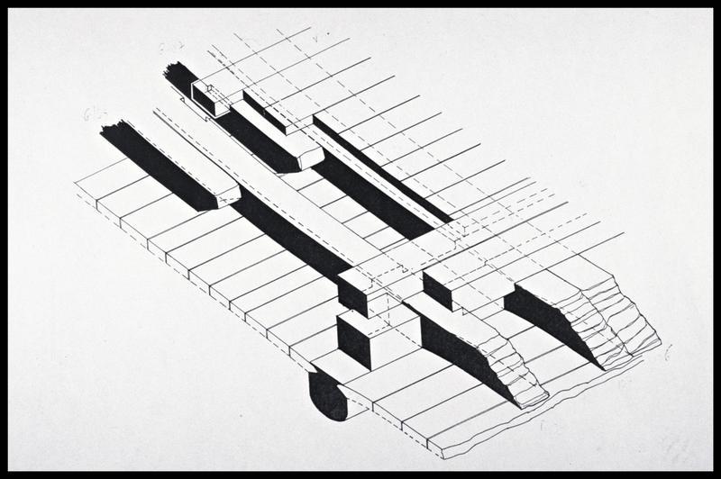 Vue du plan d'assemblage des vaigres sur les membrures de la carène (fouille M. L'Hour/Drassm, E. Veyrat/Drassm).