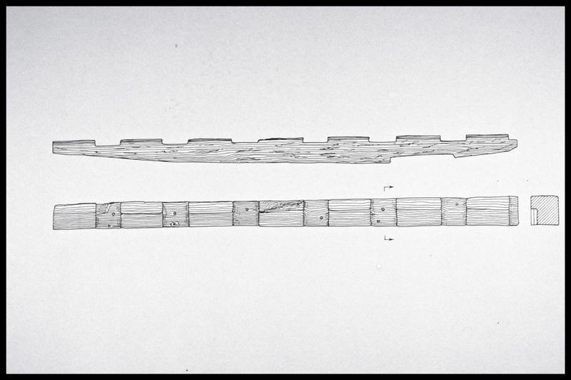 Vue du dessin de la structure axiale de la carène (fouille M. L'Hour/Drassm, E. Veyrat/Drassm).