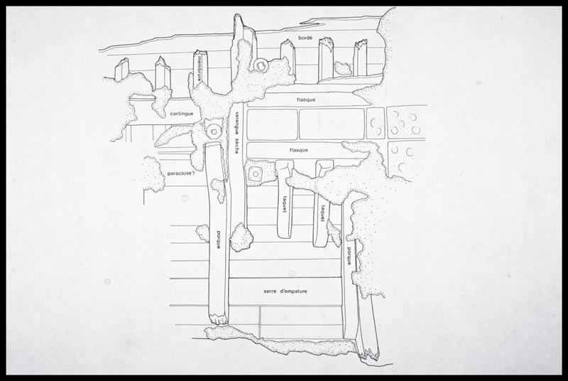 Vue du dessin du relevé de la carène (fouille M. L'Hour/Drassm, E. Veyrat/Drassm).