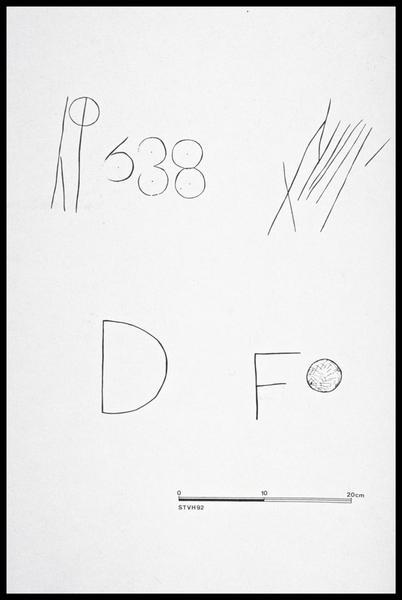 Vue du relevé de marques de charpentiers (fouille M. L'Hour/Drassm, E. Veyrat/Drassm).