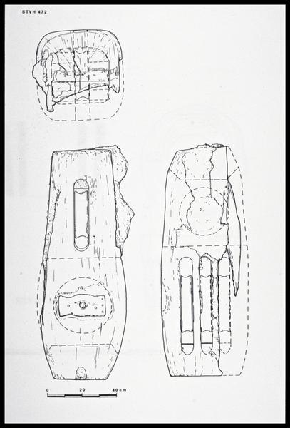 Vue du dessin d'une poulie de drisse de bois (fouille M. L'Hour/Drassm, E. Veyrat/Drassm).