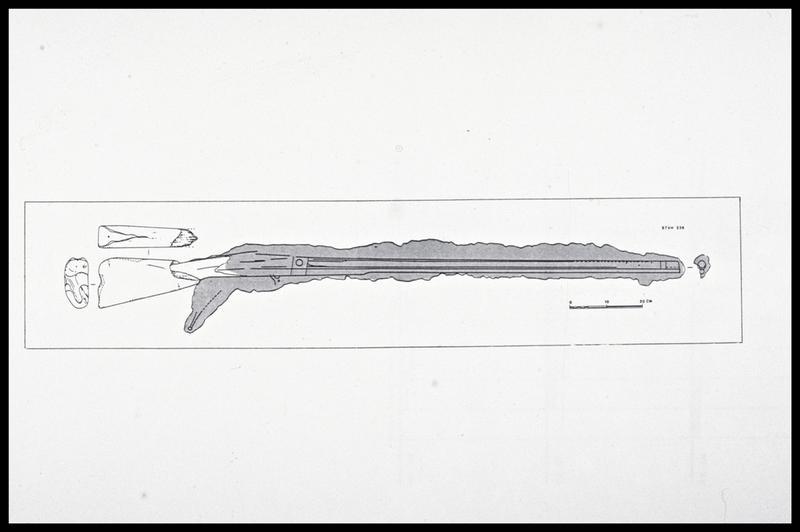 Vue du dessin d'un fusil (fouille M. L'Hour/Drassm, E. Veyrat/Drassm).