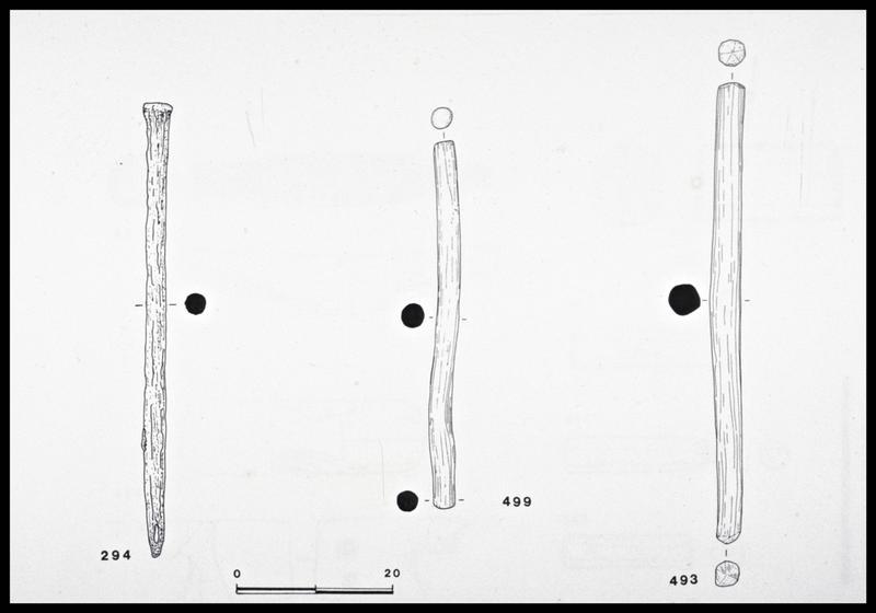 Vue du dessin de trois gournables de bois (fouille M. L'Hour/Drassm, E. Veyrat/Drassm).