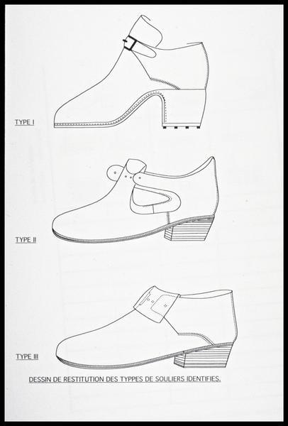 Vue de la restitution dessinée de trois chaussures (fouille M. L'Hour/Drassm, E. Veyrat/Drassm).