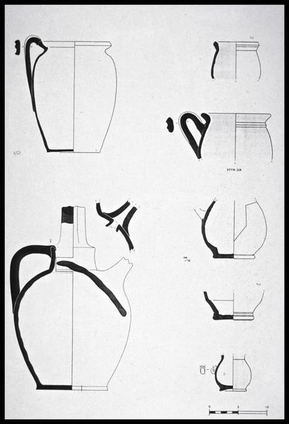 Vue du dessin de sept pichets de céramique (fouille M. L'Hour/Drassm, E. Veyrat/Drassm).