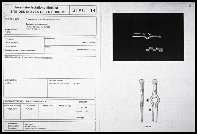 Vue de la fiche d'inventaire d'un compas de bronze (fouille M. L'Hour/Drassm, E. Veyrat/Drassm).