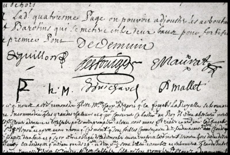 Vue des signatures au bas du registre de l'état de l'Ambitieux (fouille M. L'Hour/Drassm, E. Veyrat/Drassm).