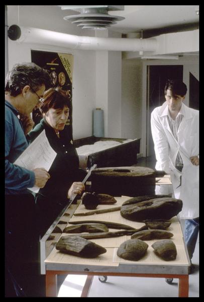 Vue de l'identification des pièces de bois avant restauration (fouille M. L'Hour/Drassm, E. Veyrat/Drassm).
