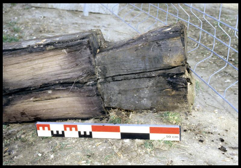 Vue de l'extrémité d'un bois taillé (fouille P. Rhomer).