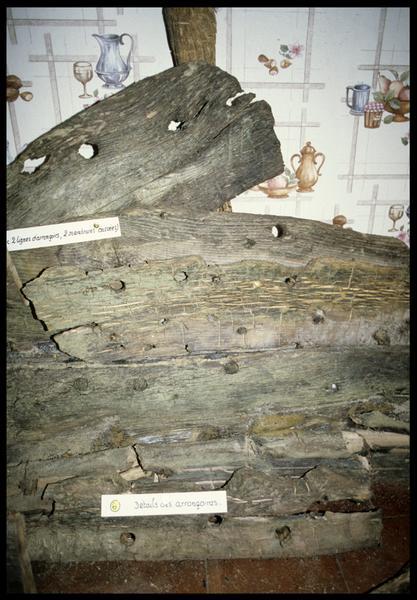 Vue de détail des bois de la carène d'une sapine (fouille CNRAS).
