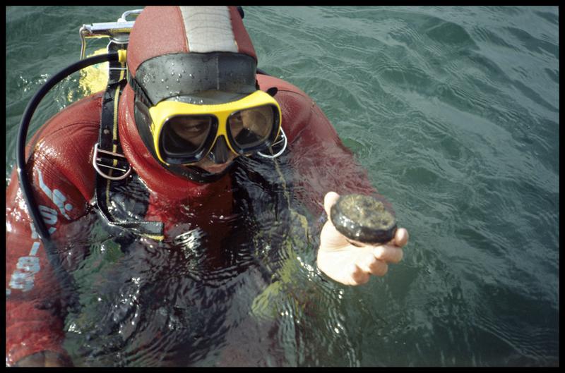 Vue d'un plongeur sortant un petit vase (fouille A. Marguet/Drassm).