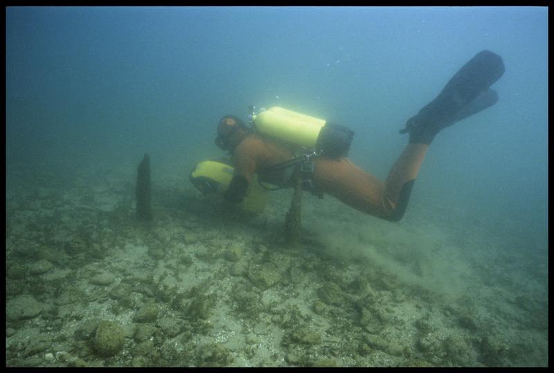 Vue d'un plongeur et de son locoplongeur au dessus de pieux de bois (fouille A. Marguet/Drassm).