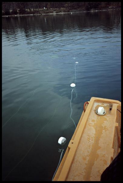 Vue du fil flottant de la barre de mesure du sondeur à sédiment (fouille A. Marguet/Drassm).