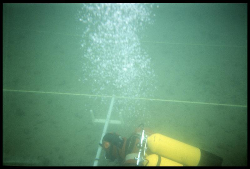 Vue sous-marine d'un plongeur manipulant la barre de mesure du sondeur à sédiment (fouille A. Marguet/Drassm).