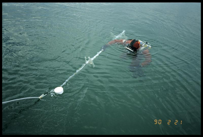 Vue d'un plongeur remontant la barre de mesure du sondeur à sédiment (fouille A. Marguet/Drassm).