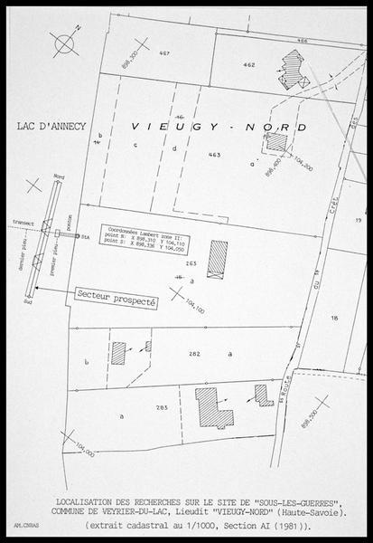 Vue de la localisation du site sur le plan cadastral (fouille A. Marguet/Drassm).